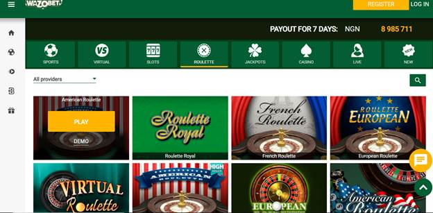 Wazobet Casino Poker & Roulette Games