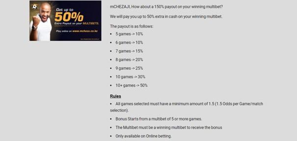 mCheza sportsbook promotional offer - mCHEZA Sports Betting Review