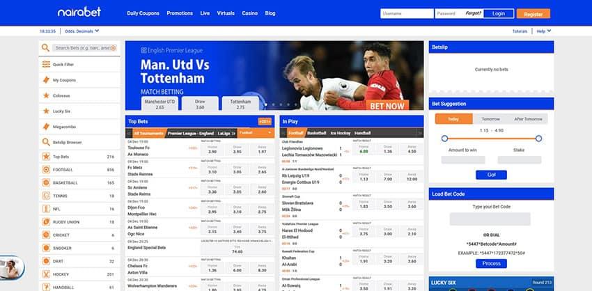 Homepage at Nairabet Nigeria Betting