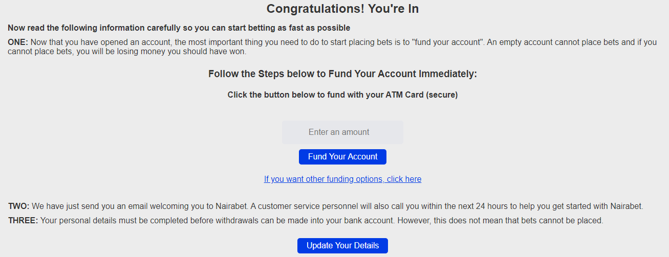 NairaBet deposit page after registration completion
