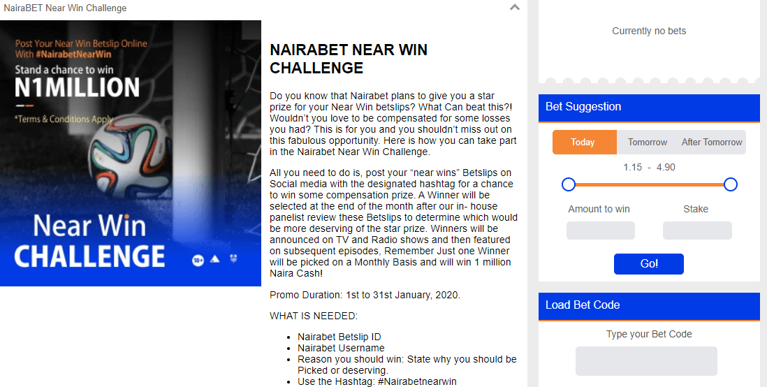 NairaBet Sportsbook Promotions - N1Million Near Win Challenge