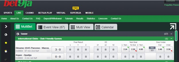 bet9ja over under betting - live betting