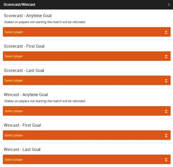 Scorecast/Wincast - Select Player - ScoreCast Betting