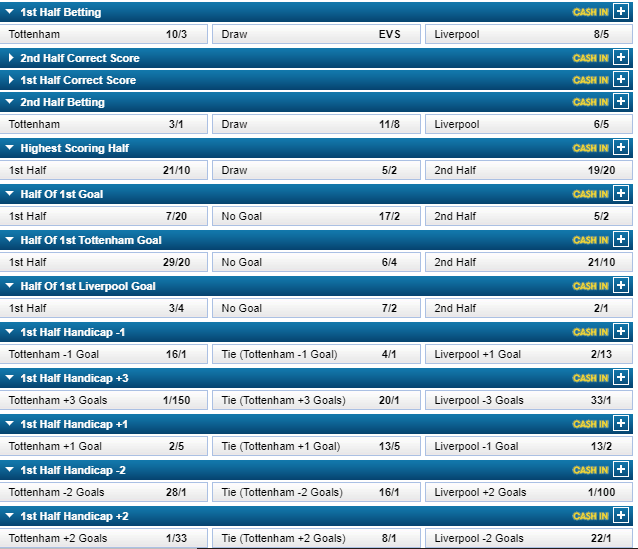 william hill betting options